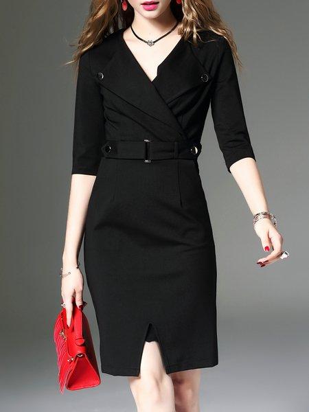 3/4 Sleeve Elegant Bodycon Cotton-blend Midi Dress