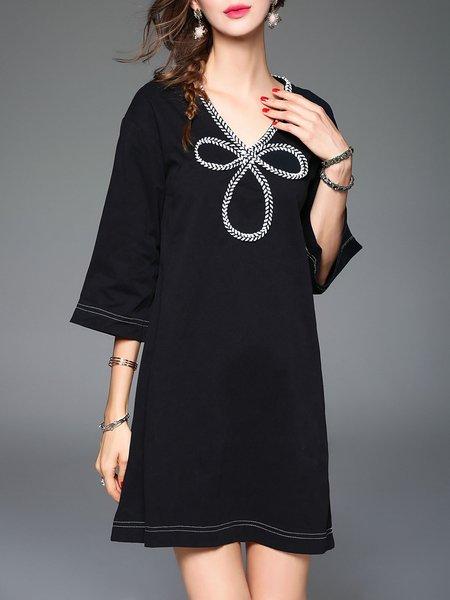 Paneled Cotton Casual 3/4 Sleeve V Neck Mini Dress