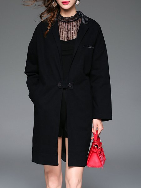 Black Stripes Paneled Elegant Cotton Coat