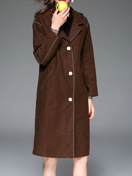 Camel Hoodie H-line Cotton Elegant Coat