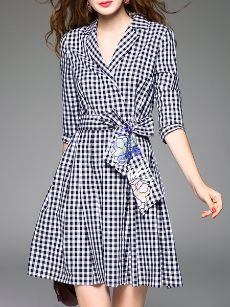 Black Cotton Long Sleeve Lapel Checkered/Plaid Midi Dress With Belt