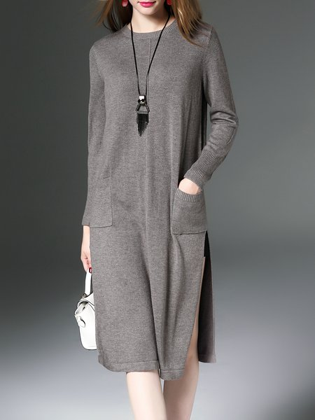 Gray H-line Cashmere Casual Crew Neck Sweater Dress