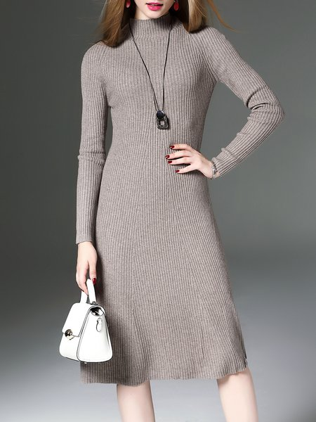 Khaki Plain Turtleneck Cashmere Long Sleeve Sweater Dress