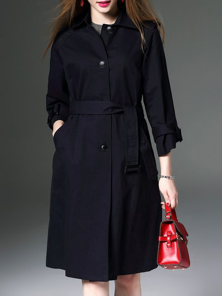 Elegant Cotton Long Sleeve Buttoned Trench Coat With Belt