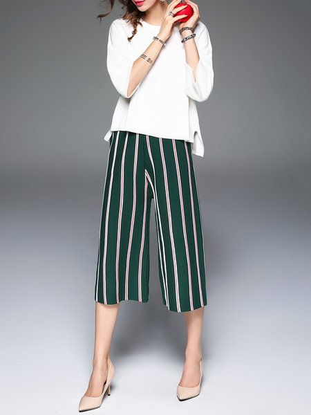 Green H-line Pleated Stripes Casual Wide Leg Pants
