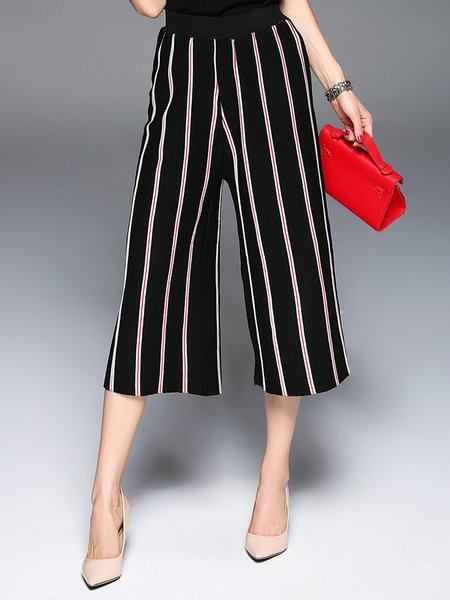 Black Polyester Stripes Casual H-line Wide Leg Pants