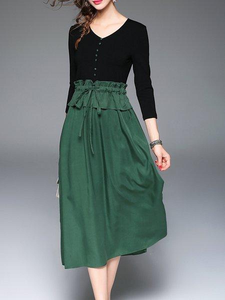 Black-green 3/4 Sleeve Buttoned Paneled V Neck Midi Dress