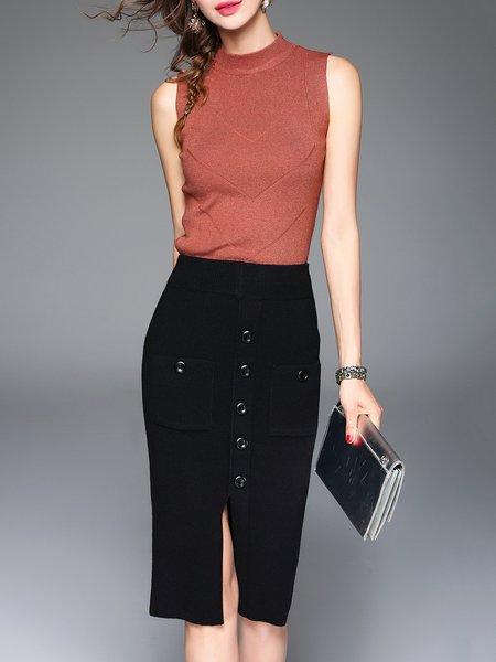 Black Slit Bodycon Simple Midi Skirt