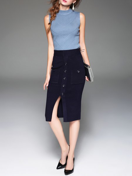 Dark Blue Bodycon Plain Buttoned Slit Simple Midi Skirt