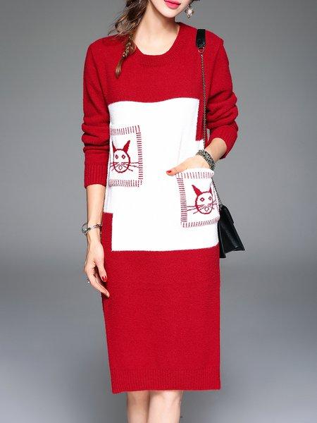 Red Sheath Angora-blend Knitted Slit Long Sleeve Midi Dress