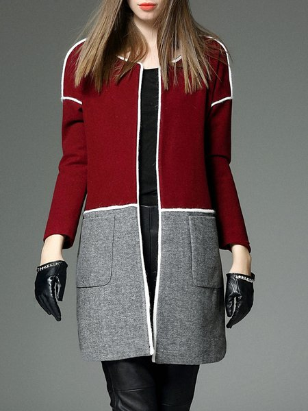 Long Sleeve Wool Blend Color Block Simple Coat