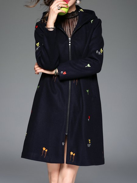 Dark Blue Embroidered H-line Casual Wool Blend Coat