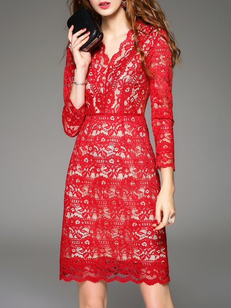 Red V Neck  Long Sleeve Crocheted Lace Midi Dress