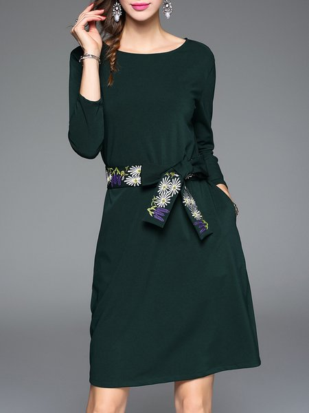 Long Sleeve Plain Polyester Simple A-line Midi Dress with Belt