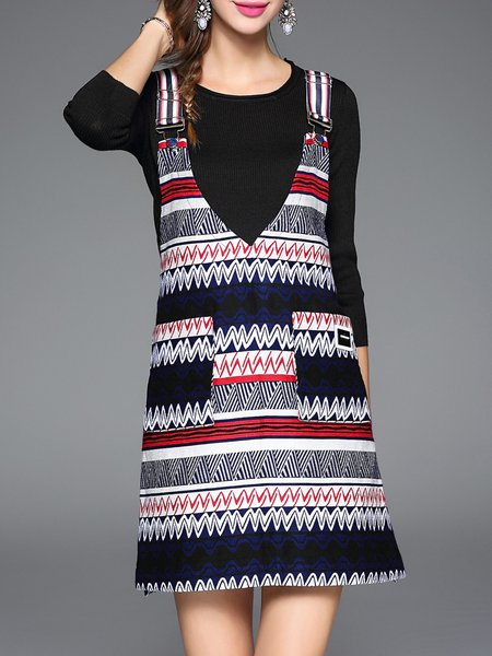 Multicolor Printed 3/4 Sleeve Two Piece Crew Neck Overall Mini Dress