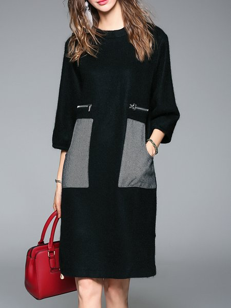 Simple Wool Blend 3/4 Sleeve Pockets Midi Dress