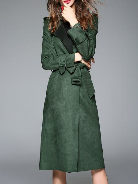 Green Plain Long Sleeve Pockets Trench Coat with Belt