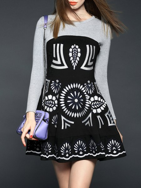A-line Long Sleeve Floral-embroidered Vintage Mini Dress