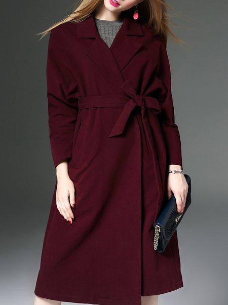 Wine Red Lapel Pockets Viscose Simple H-line Coat