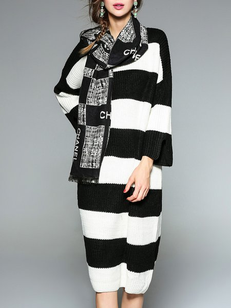 Long Sleeve Stripes Color-block Sweater Dress