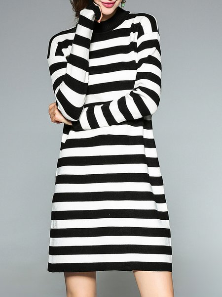 Black-white Stripes  A-line Sweater Dress