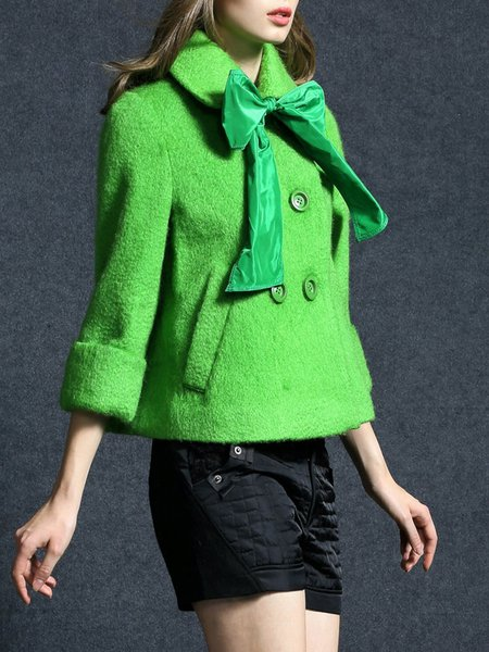 Green A-line Long Sleeve Shirt Collar Wool Buttoned Coat