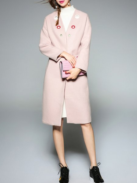 Grommet Simple Pockets Buttoned Long Sleeve Coat