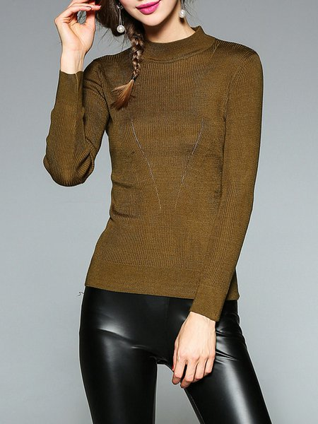 Army Green Long Sleeve Sheath Solid Sweater
