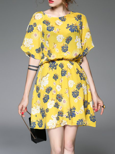 Yellow Half Sleeve Silk Floral A-line Midi Dress