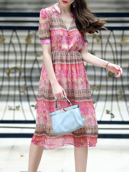 Boho V Neck Tribal Printed Short Sleeve Silk Midi Dress