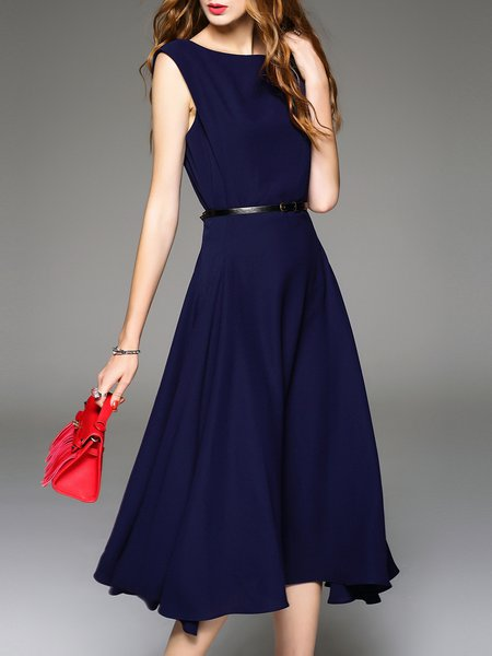 Navy Blue Plain Elegant A-line Midi Dress
