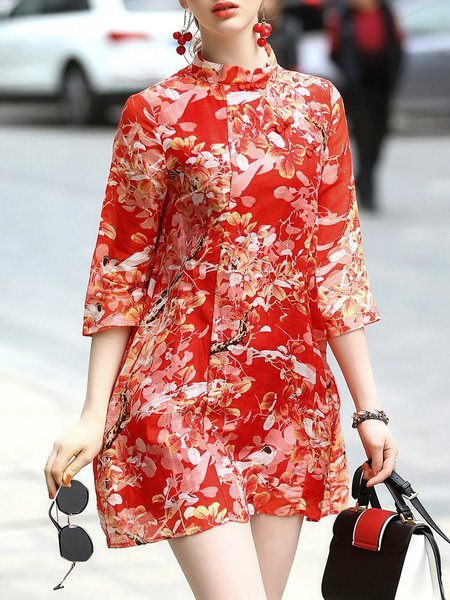 Stand Collar 3/4 Sleeve Vintage Style Floral Pockets Mini Dress