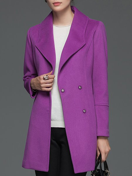 Paneled Long Sleeve Wool Blend Casual Coat