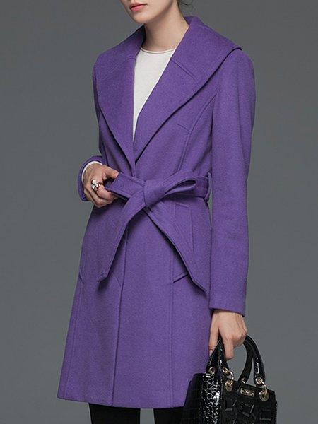 Purple Casual Wool Blend H-line Symmetric Coat