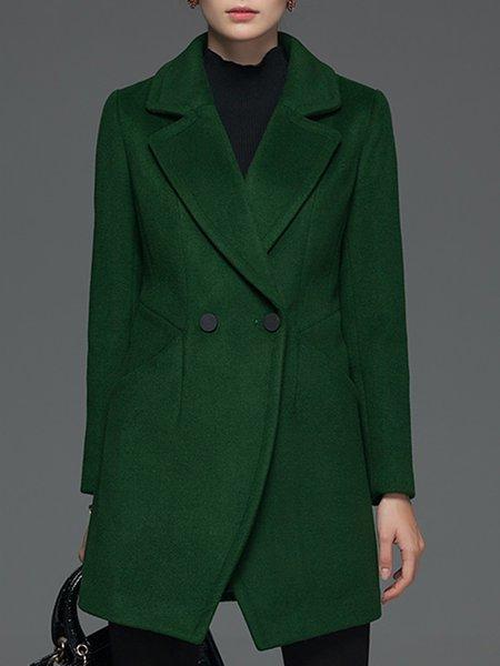H-line Long Sleeve Casual Symmetric Lapel Wool blend Coat