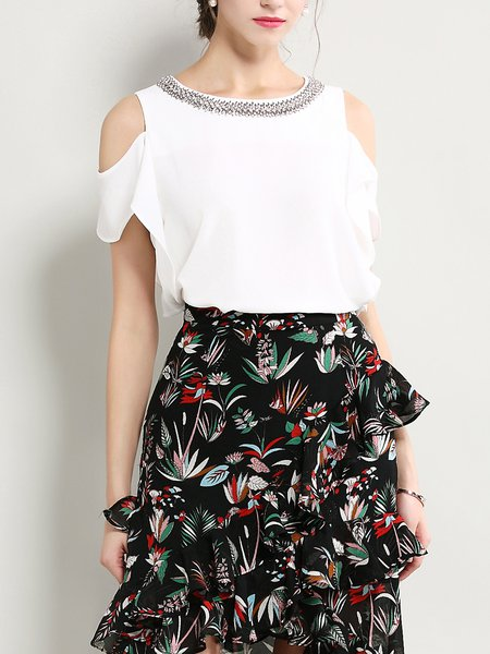 White Polyester Cutout Casual Solid Tops