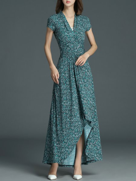 Green Polyester Vintage V Neck Asymmetric Maxi Dress