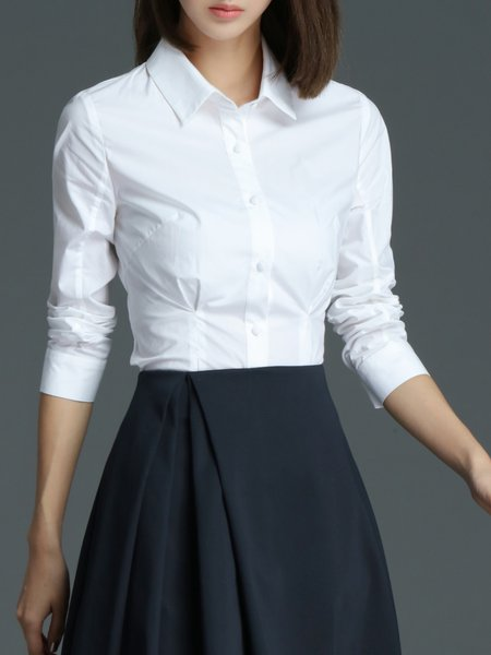 Simple Long Sleeve Shirt Collar Plain Blouse