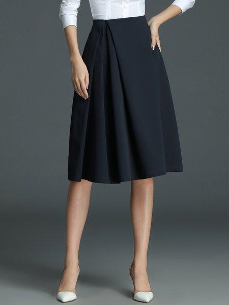 blue simple a line midi skirt stylewe