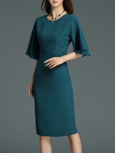 Sheath Elegant Plain 3/4 Sleeve Ruffled Midi Dress