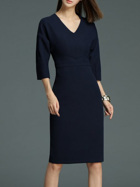 Dark Blue 3/4 Sleeve Plain Midi Dress
