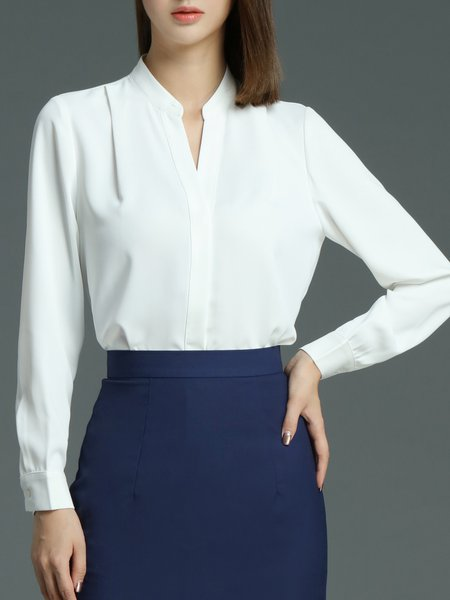 White Plain Cotton H-line Long Sleeve Blouse
