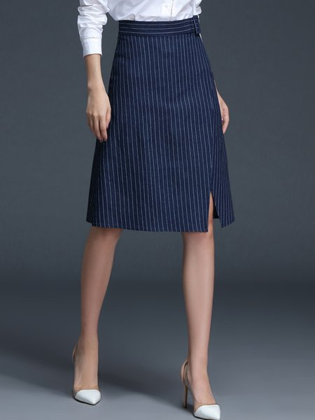 Navy Blue Slit Stripes Cotton-blend Casual Midi Skirt