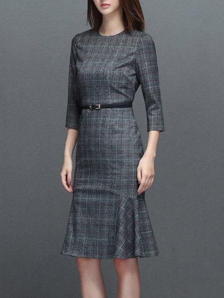 Elegant 3/4 Sleeve Checkered/Plaid Mermaid Midi Dress with Belt