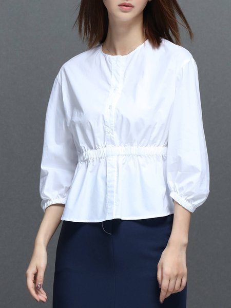 Shirred Simple Solid Balloon Sleeve Cotton Blouse