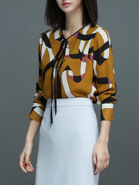 Yellow Abstract Crew Neck Casual Blouse