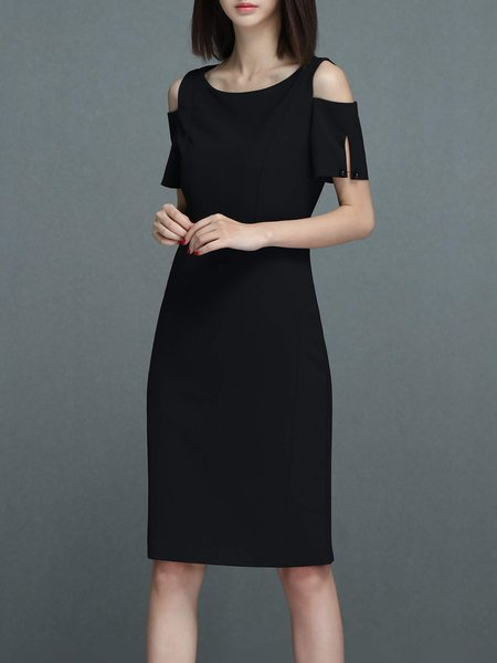 Black Solid Cold Shoulder Midi Dress