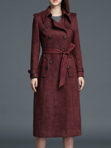 Bell Sleeve Simple Solid Lapel Pea Coat