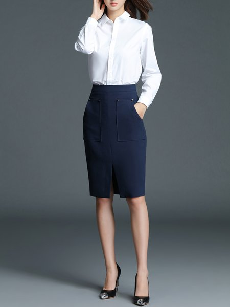 Dark Blue Bodycon Solid Formal Slit Pencil Skirt - StyleWe.com