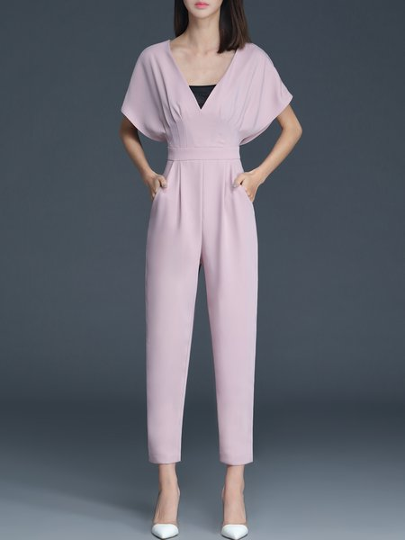 Polyester Sweet Short Sleeve Jumpsuits